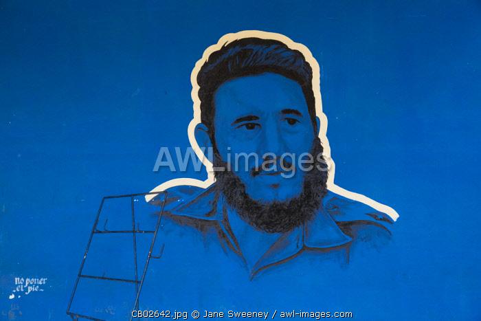 Cuba, Villa Clara province, Remedios, Bus station, Painting on wall of Ernesto Che Guevara