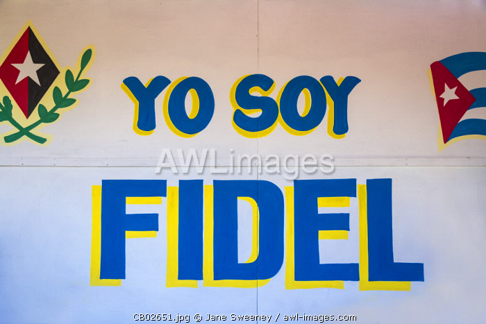 Cuba, Havana, Yo Soy Fidel - I am Fidel - on wall at restaurant, after the death of Fidel Castro in 2016