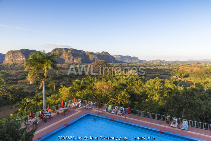 Cuba, Pinar del Río Province, Vinales, View over Hotel Horizontes Los Jazmines swimming pool to Vinales valley