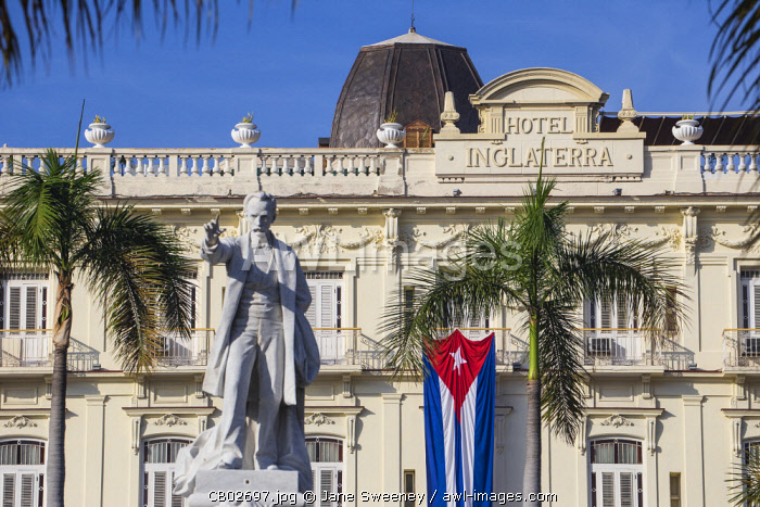 Cuba, Havana, Parque Central, Statue of Jose Marti and the Hotel Inglaterra