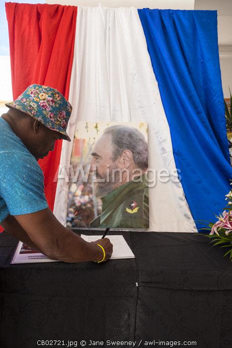 Cuba, Cayo Santa Maria, Hotel Valentino, Book of condolence In memory of Cuban revolutionary leader Fidel Castro