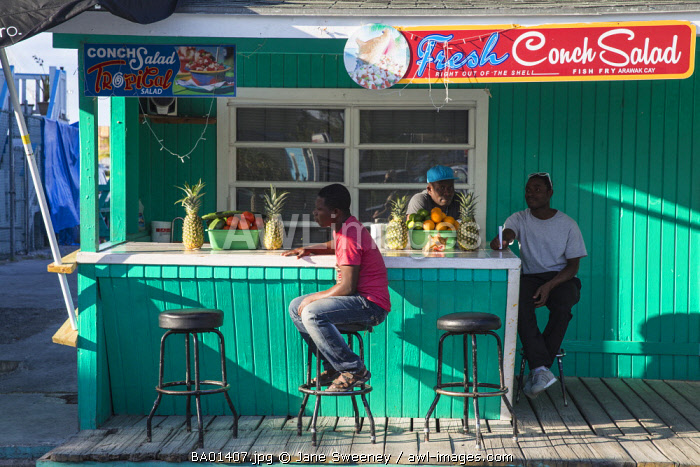 Caribbean, Bahamas, Providence Island, Nassau, Arawak Cay, Nassau's famous Fish Fry - a group of restaurants and bars serving up traditional, fresh Bahamian food and drink