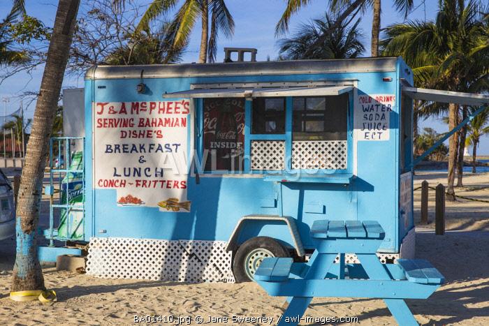 Caribbean, Bahamas, Providence Island, Nassau, Arawak Cay, Nassau's famous Fish Fry - a group of restaurants and bars serving up traditional, fresh Bahamian food and drink
