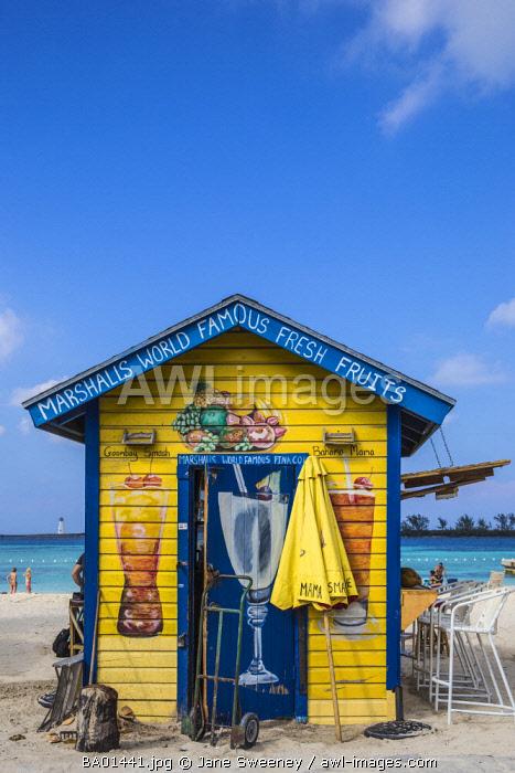 Caribbean, Bahamas, Providence Island, Nassau, Junkanoo beach, Colourful wooden hut serving Bahamian food and drink