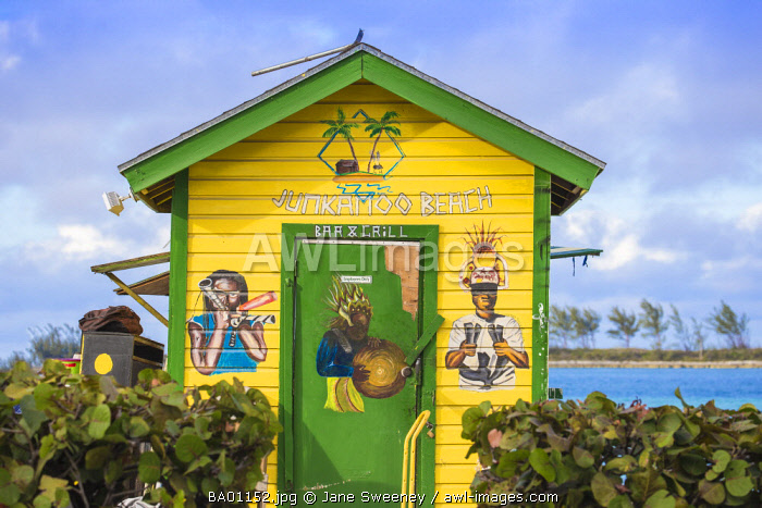 Caribbean, Bahamas, Providence Island, Nassau, Junkanoo beach, Colourful wooden hut serving Bahamian food and drink