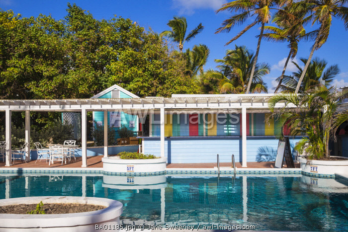 Bahamas, Abaco Islands, Elbow Cay, Hope Town, Swimming pool at Hope Town Island Lodge Hotel