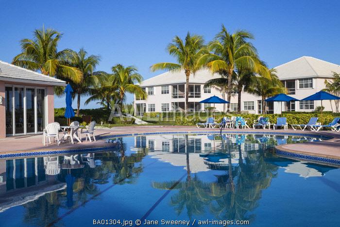 Bahamas, Abaco Islands, Great Abaco, Beach at Treasure Cay, Swimming pool at Bahama Beach Club Resort