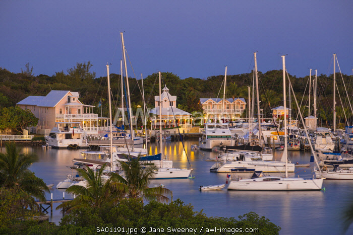 Bahamas, Abaco Islands, Elbow Cay, Hope Town, View of Hope Town Inn & Marina
