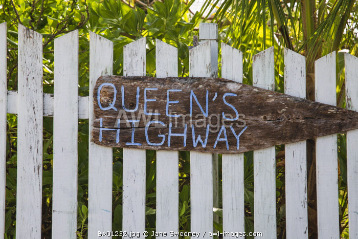Bahamas, Abaco Islands, Elbow Cay, Hope Town, Queens Highway sign