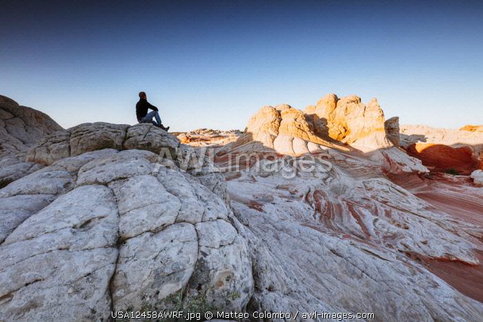 Hiker at Vermillion Cliffs, Arizona, USA (MR)