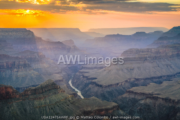 Sunset over Mohave point, South Rim, Grand Canyon National Park, Arizona, USA