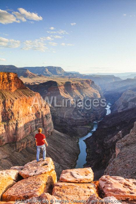 Tourist at Toroweap overlook, North Rim, Grand Canyon National Park, Arizona, USA (MR)