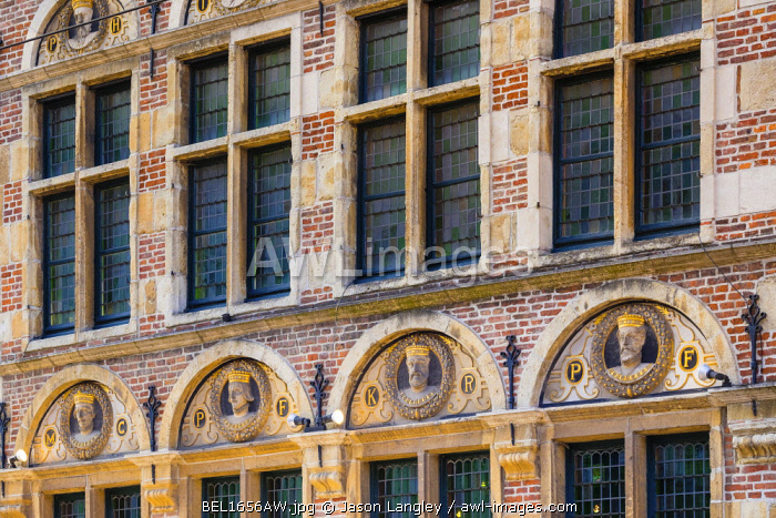 Belgum, Vlaanderen (Flanders), Ghent (Gent). Ornate brick and stone facade in the old town.