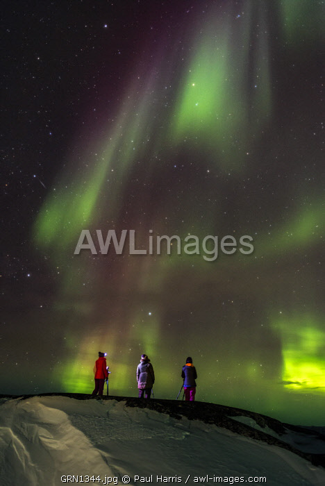 Photographing the Northern Lights (Aurora Borealis), Oqaatsut, West Greenland