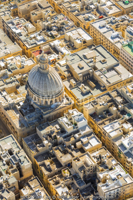 Malta, South Eastern Region, Valletta. Aerial view of the dome of the Carmelite Church.