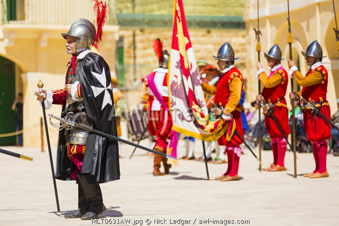 Malta, South Eastern Region, Valletta. The In Guardia parade at Fort St. Elmo which re-enacts the Grand Bailiff's inspection of the Knights of St. John.