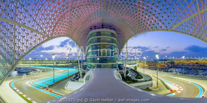Yas Marina Hotel and Formula 1 race track, Yas Island, Abu Dhabi, United Arab Emirates, UAE