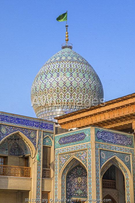 Iran, Shiraz. The ornate dome of the Shah Cheragh shrine in Shiraz. The shrine is the holiest pilgrimage site for Shia Muslims in Shiraz.