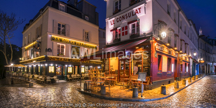 Streets of Montmartre at night, Paris, France