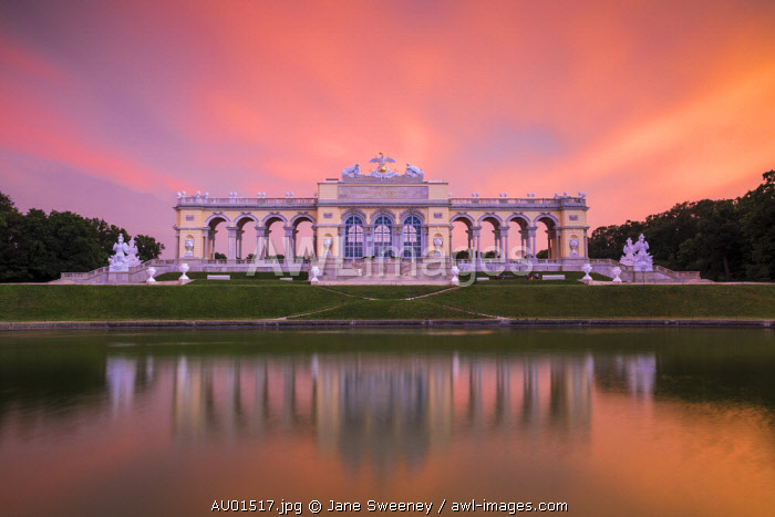Austria, Vienna, The Gloriette in the gardens of Schonbrunn Palace - a former imperial summer residence