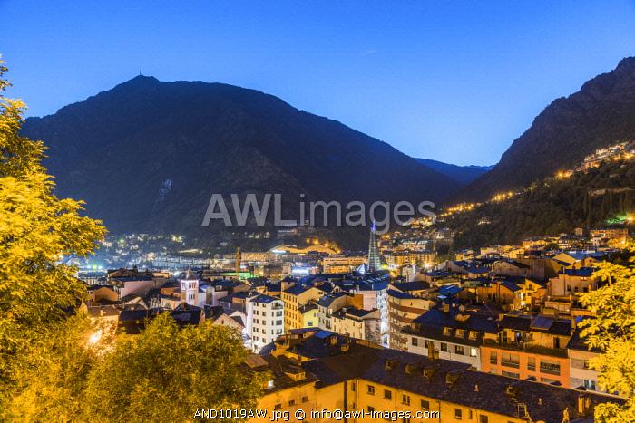 City skyline at dusk, Andorra La Vella, Andorra