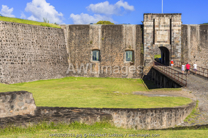 awl-images.com - French West Indies / French West Indies, Guadeloupe, Basse Terre, strong Delgres formerly Fort Saint Charles (historical monument in 1977) was founded in the 17th century but was significantly modified in the 18th century, entry