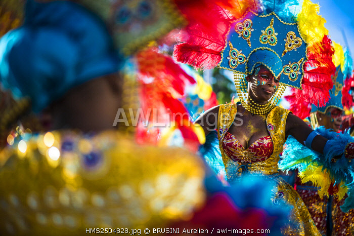 French West Indies, Guadeloupe, Grande Terre, Pointe a Pitre, portrait of a dancer of Toum Black band, during the closing parade of Shrovetide