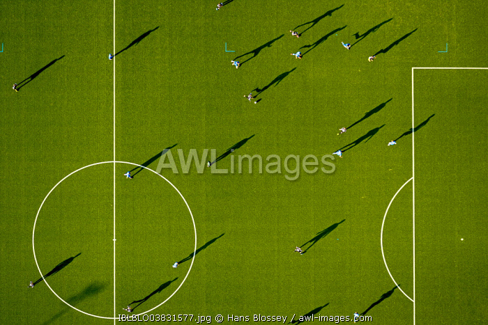 Aerial view, astro turf football pitch in Dortmund-Lütgendortmund, Dortmund, Ruhr Area, North Rhine-Westphalia, Germany, Europe