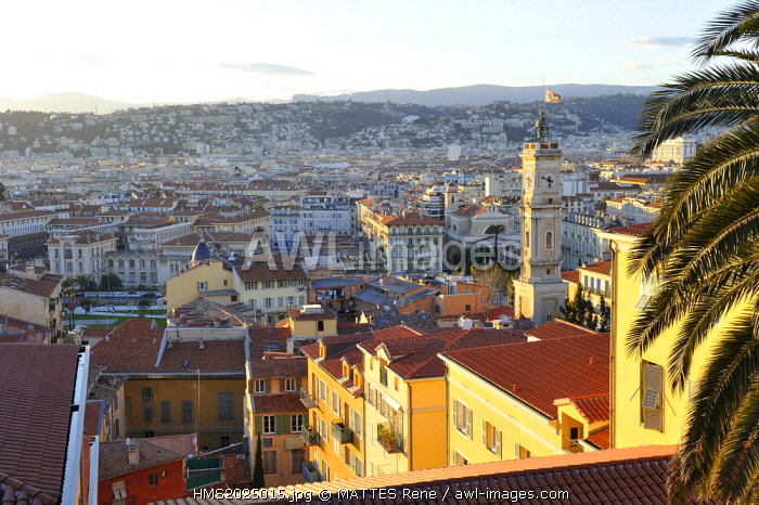 France, Alpes-Maritimes, Nice, the old town, the St Francois tower from the castle hill