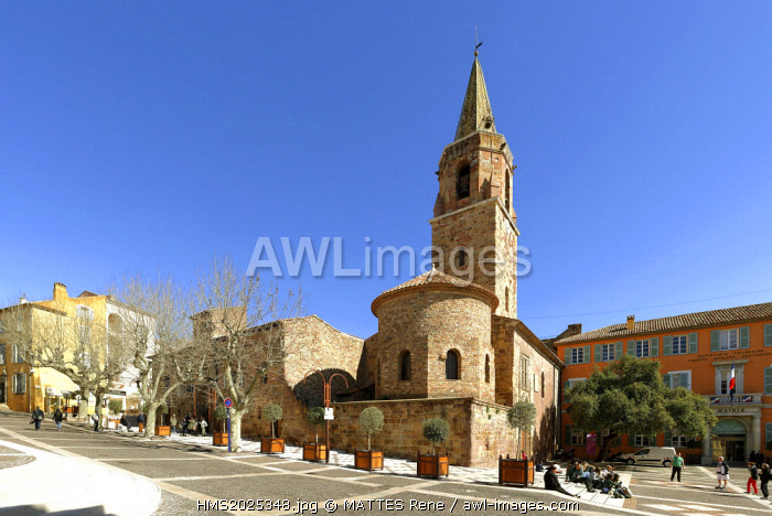 France, Var, Frejus, Place Camille Formige, Saint Leonce cathedral and Townhall