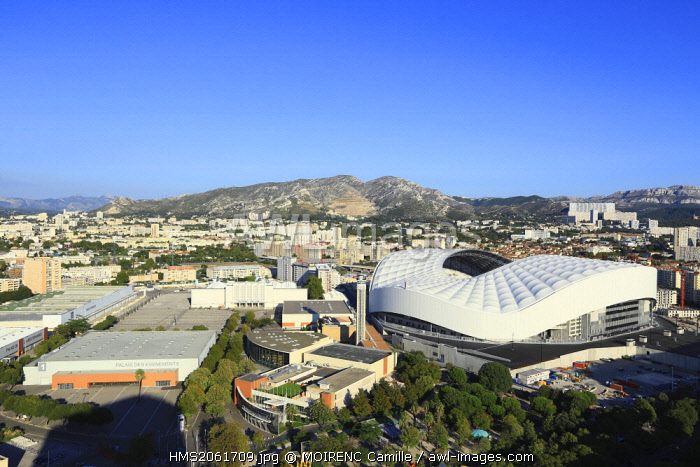 France, Bouches du Rhone, Marseille, Rond Point du Prado district, Chanot park and the Stade Velodrome from the building Le Grand Pavois