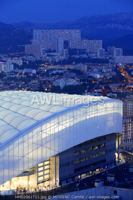 France, Bouches du Rhone, Marseille, Rond Point du Prado district, the Stade Velodrome from the building Le Grand Pavois