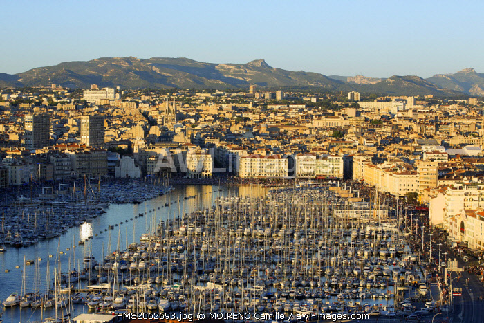 France, Bouches du Rhone, Marseille, Euromediterranean area, Vieux Port, crowd on the pier Rive Neuve on national day, Massif du Garlaban in the background