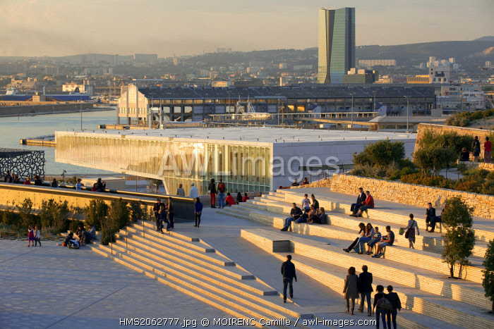 France, Bouches du Rhone, Marseille, Euromediterranean area, Villa La Mediterranee, architect Stefano Boeri, garden Migration, MuCEM Museum of Civilization in Europe and the Mediterranean R. Ricciotti and R. Carta architects, hangar J1 and CMA CGM Tower, architect Zaha Hadid in the background