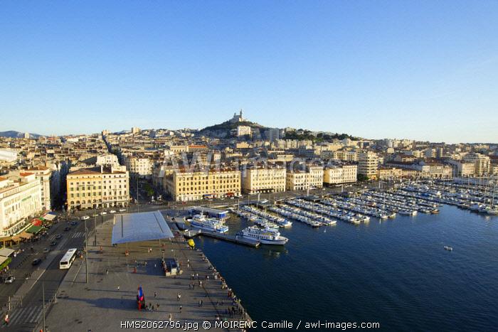 France, Bouches du Rhone, Marseille, Vieux Port, Fraternite dock, Notre Dame de la Garde in the background