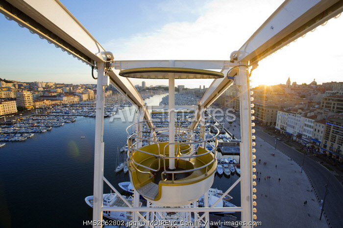 France, Bouches du Rhone, Marseille, Vieux Port, dock port, from the Great Wheel