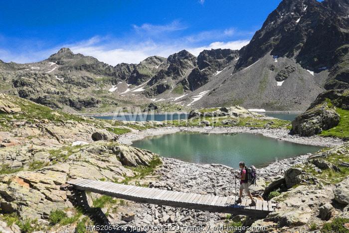 France, Alpes-Maritimes, Mercantour National Park, hiking to lake Rabuons (alt : 2523m)