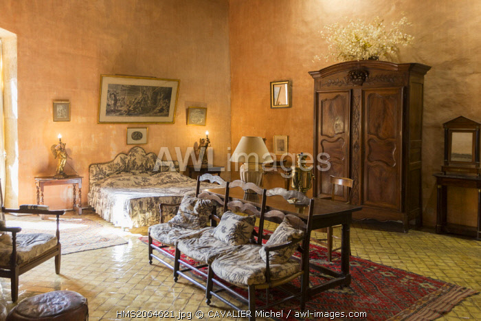 France, Vaucluse, Lourmarin, labeled Les Plus Beaux Villages de France (the Most Beautiful Villages of France), castle 15th and 16th centuries, classified as Historic Monument, the second room of Honor of Chateau Renaisance (1526 1567) proposes a reconstruction of a room of the 18th century