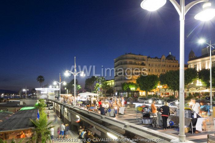 France, Var, Saint Raphael, beach of Veillat, seasonal night market on the promenade des Bains