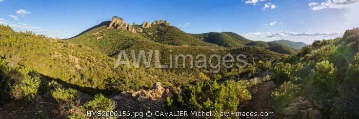 France, Var, Saint Raphael, massif de l'Esterel, in the Cap Roux the Saint Pilon peaks in 442m