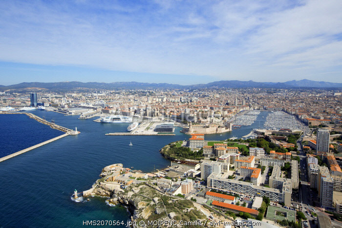 France, Bouches du Rhone, Marseille, Grand Port Maritime, the Digue du Large and the entrance to the Old Port, J4 Esplanade and Pharo (aerial view)