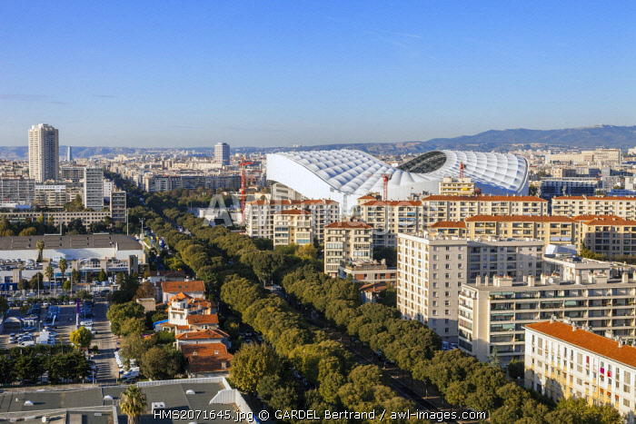 France, Bouches du Rhone, Marseille, the Stade Velodrome and the Boulevard Michelet