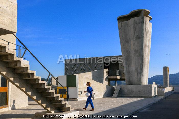 France, Bouches du Rhone, Marseille, architectural work of Le Corbusier (UNESCO), the radiant city of the architect Le Corbusier, the roof terrace
