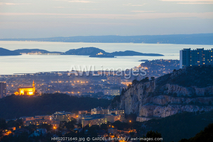France, Bouches du Rhone, Marseille 9th district, district of Redon, Chapel Hill Saint Joseph and the Frioul Islands at the background