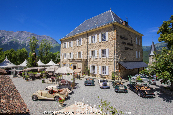 France, Hautes Alpes, Saint Firmin en Champsaur, 3 star hotel, restaurant Chateau des Herbeys of Christiane et Gilbert Delas on the main road 85 or route Napoleon