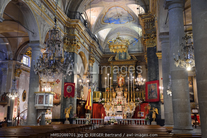 France, Alpes Maritimes, Menton, old town, basilique Saint Michel Archange (Saint Michael the Archangel Basilica)