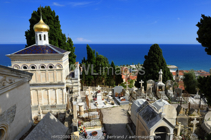 France, Alpes Maritimes, Menton, old town, the Old Castle cemetery, marine cemetery, Orthodox chapel built in 1884 by Count Protasov Bechmetieff