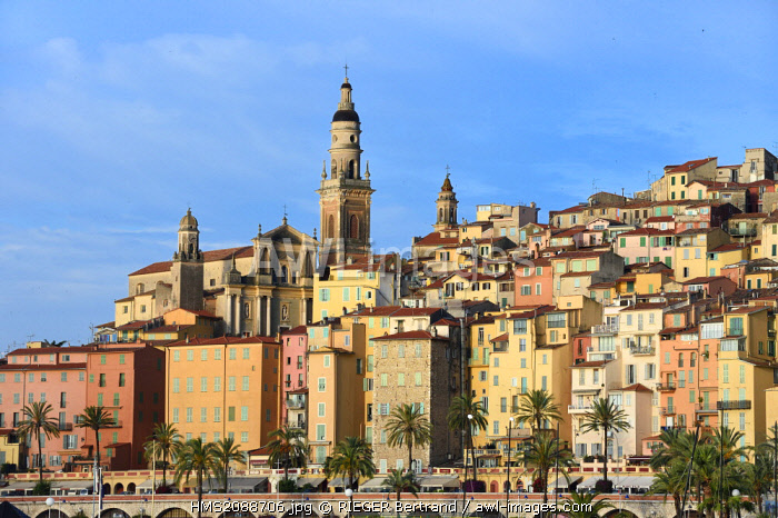 France, Alpes Maritimes, Menton, old town dominated by the St Michel Basilica