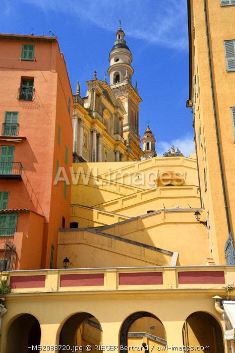 France, Alpes Maritimes, Menton, the Rampes Saint Michel (Saint Michel stairways) under the St Michel Basilica