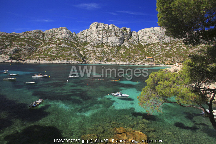 France, Bouches du Rhone, Marseille, Creeks National Park, Boats in the Sormiou Creek